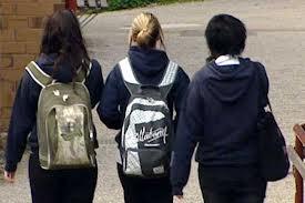 girls leaving school